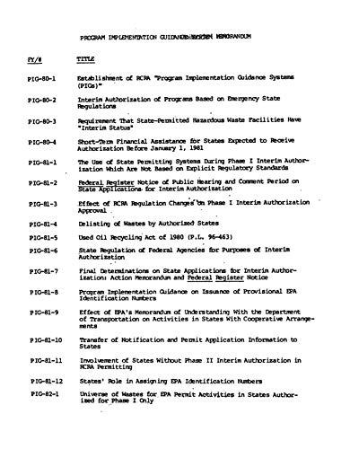 Program Implementation Guidance System Memorandum (PIGS) (English Edition)