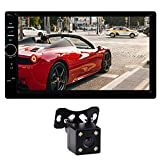 BIKON Double Din Car Stereo 7 inch Touchscreen Double Din Radio with Bluetooth/USB/FM/Mirrorlink AUX/MP3/4/5 Car Stereo with Backup Camera Video Player + LED Reverse Camera