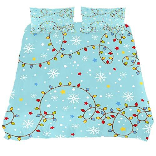 267 JlOn Microfiber Kid Bedding Set Christmas Blue Pattern 3 Pieces JlOn Microfiber Duvet Cover Sets Boys and Girls King