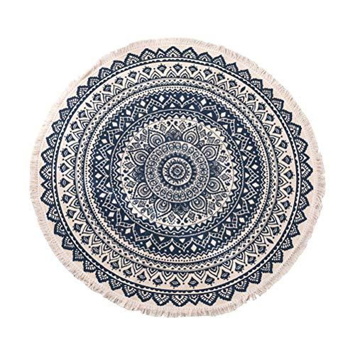 Arisesun Hanf-Baumwoll-Quasten-Teppich, rund, handgewebt, Bohemian-Stil