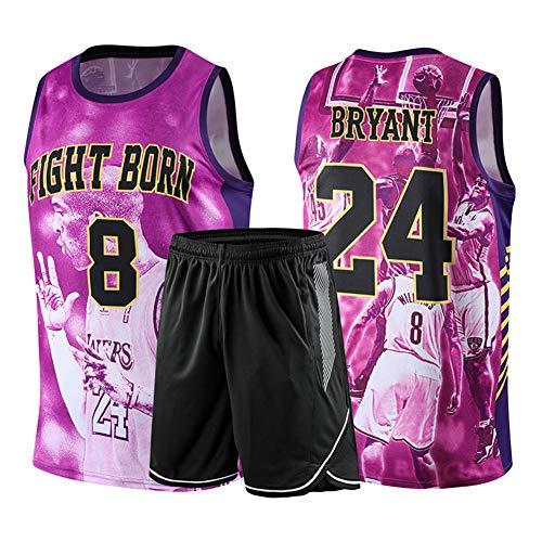 Kobe Bryant 24 Los Angeles Lakers Basketball-T-Shirt, Kobe Jersey Souvenir Ärmelloses T-Shirt Sporttrikot Für Studentenfans L-5XL-purple-XXXXL