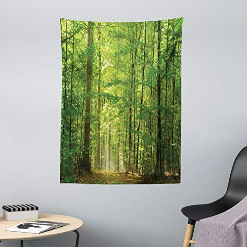 ABAKUHAUS Wald Wandteppich Laub Wald Sommeraus Weiches Mikrofaser Stoff 110x150cm Kein Verblassen Klare Farben Waschbar Grün