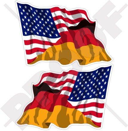 Lot de 2 autocollants en vinyle pour pare-chocs Motif drapeau américain et allemand 120 mm