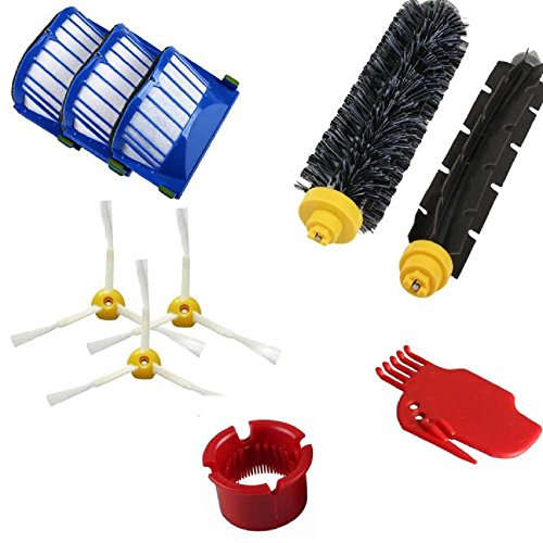 Accessoire Pour Robot Roomba SéRie 600 610 620 650 Aspirateurs PièCe De Rechange Sets - Inclure 3X Filtre +3X Brosse à Poils +1X Brosse à Fouet Flexible +1X Outil De Nettoyage +1X Brosse De Soie