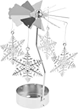 HOMYL Rotary Candle Holder Spinning Candlestick Metal Small Craft Sliver for Christmas Decoration - Snowflake
