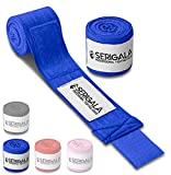 Serigala 4,5m Boxbandagen mit Daumenschlaufe - Halb elastische Bandagen Boxen mit extra breitem Klettverschluss - Kampfsport Bandagen für Thaiboxen, Kickboxen, MMA und Muay Thai Blau