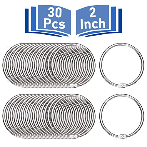 Binder Rings 2 Inch, 30 Pcs Book Rings, O Rings for Flashcards Loose, Metal Rings for Index Cards, Silver Loose Leaf Binder Rings for Paper by MoHern