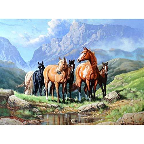SHQBZPYS 5d DIY diamant schilderij diamant schilderij paard het gras