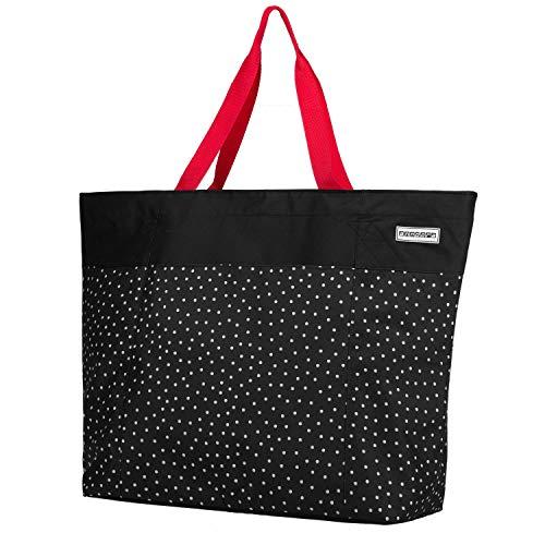 anndora XXL Shopper schwarz weiß gepunktet - Strandtasche 40 L Schultertasche Einkaufstasche