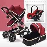 YZPTD Carrera de bebé con visión Alta, Puede Sentarse liviano reclinable, Cochecito de Lujo Plegable de Lujo Anti-Shock Cochecito, arnés de Puntos y Cesta de Almacenamiento Alta (Color : Rojo)