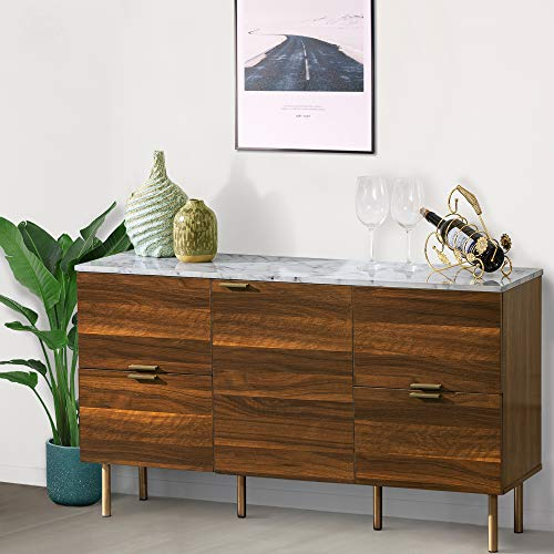 GOOD & GRACIOUS Sideboard Cabinet, Mid Century Modern Console Storage Buffet Credenza Cabinet, Faux Marble Top with 4 Drawers and 1 Door for Living Room, Kitchen, Ding Room or Entryway, 48