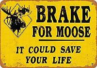 ムース用ブレーキ 金属板ブリキ看板警告サイン注意サイン表示パネル情報サイン金属安全サイン