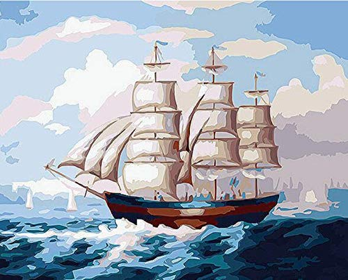 Price comparison product image HCFFCH DIY Sailboat DIY Painting by Numbers Landscape Home Decor Wall Art Handpainted Oil Paint for Room Decoration Art Wall Frameless 40X50Cm