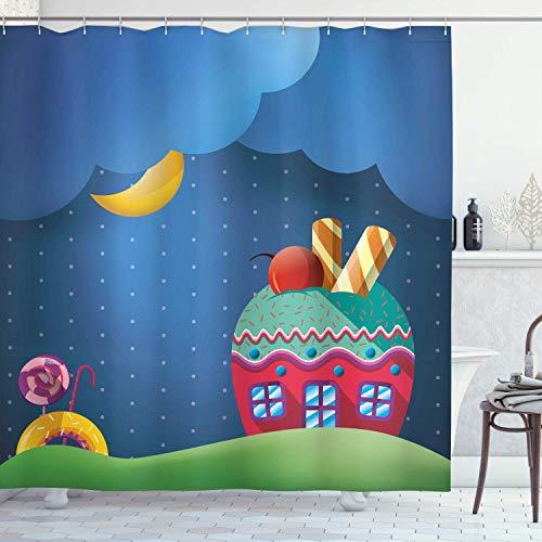 N \ A Cartoon-Duschvorhang, Fantasie-Stil, Cupcake-Haus mit Süßigkeiten, Lollipops, Wolken & Sonnenlandschaft, Stoffstoff, Badezimmer-Dekor-Set mit Haken, 182,9 cm lang, dunkler Meeresschaum