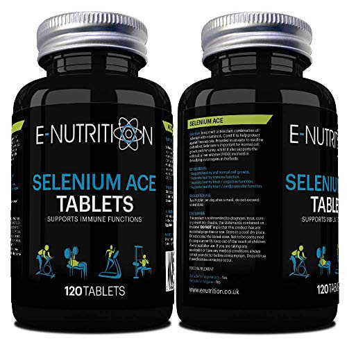 Selenium ACE Tablets 220mcg | Vegan | Vitamin A C and E | Antioxidant | Made in UK | E-Nutrition