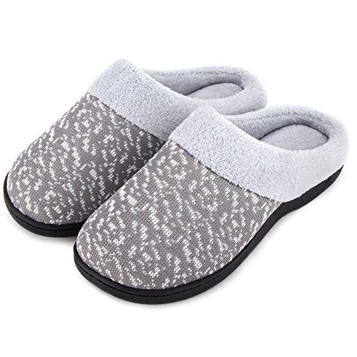 Wishcotton Women's Slip On Knit Memory Foam Slippers French Terry Lining Indoor/Outdoor House Shoes,Grey,7-8 M US