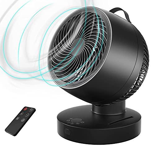 Ventilatore da Tavolo con Telecomando, Oscillazione Ventola per la Circolazione dell'Aria, 4 Modalità, 6 Velocità, Display LED, Ventilatore da Scrivania Ultra Silenziosa con Timer per Ufficio,Casa