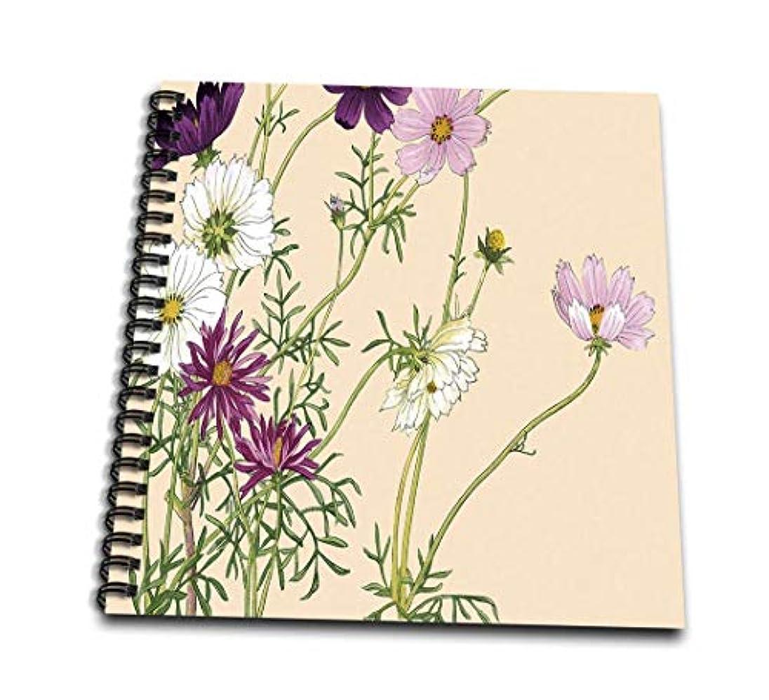 3dRose db_175418_2 Pretty Pink, White & Purple Cosmos Memory Book, 12 by 12