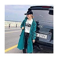 春と秋のロングトレンチコート女性長袖フード付きジャケットルーズワークウェア女性トレンチコート,Darkgreen-Medium