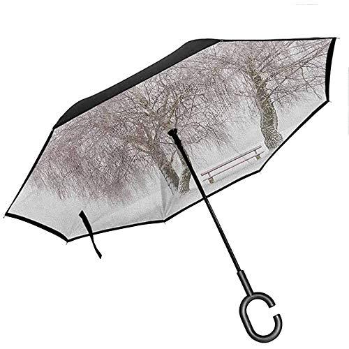Winter Reverse Folding Umbrella Bank im Park an einem schneekalten Wintertag im Sturm Wind Blizzard Holiday Picture Auto öffnen und schließen Reiseschirm