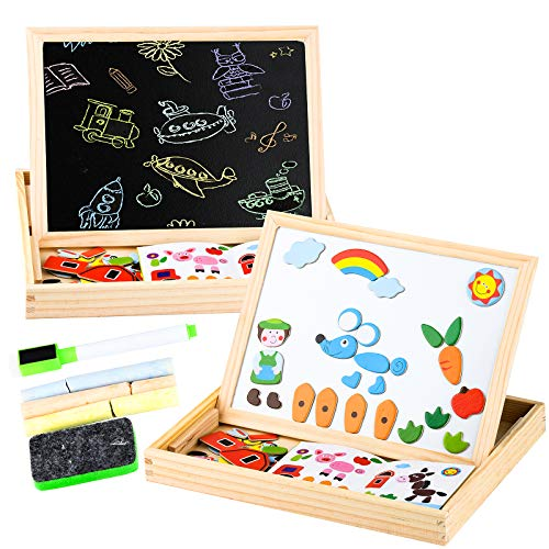 Magnetic Board for Kids,Drawing Chalkboard for Toddles ,Double Side Jigsaw Puzzles Set Drawing Chalkboard Educational Toys for Girls Boys (HF)