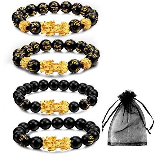 Hazms 4Pcs Feng Shui Black Obsidian Wealth Bracelet for Men, Good Luck Bracelet Hand Carves Mantra Bands pi xiu/pi yao Bracelet Adjustable Elastic Buddha Bracelet Feng Shui Jewelry for Men Women
