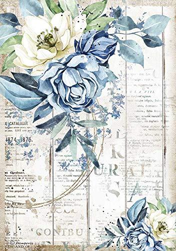 Papel de seda de paja 'Romantic Blue', DIN A4.