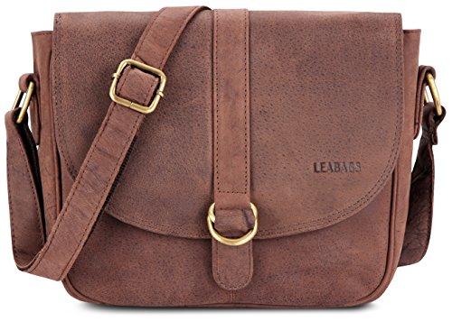 LEABAGS Milano Damen Handtasche aus echtem Büffel-Leder im Vintage Look - Muskat