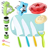 Kids Knife Set for Real Cooking with Cutting Board Safe Salad and Lettuce Knives, Sandwich Cutter...