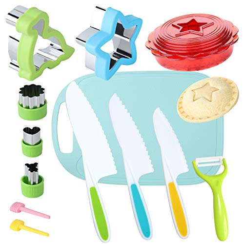 Kids Knife Set for Real Cooking with Cutting Board Safe Salad and Lettuce Knives, Sandwich Cutter and Sealer for Kids, Knives for Kids Cutting Vegetable Cutter Shapes Set