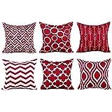 wuayi 6 Stück/Set Fashion Geometrische quadratische Dekorative Überwurf-Kissenbezüge für Zuhause...