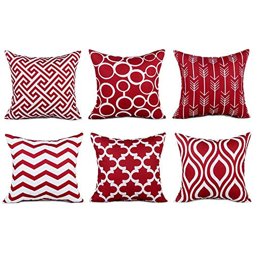 Geometrische, quadratische Überwurf-Kissenbezüge von Wuayi, 6 Stück / Set, modisch und dekorativ, für Zuhause, Sofa, Dekor, Baumwollmischung, rot, 45 x 45 cm