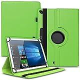 Tablet Schutz Hülle kompatibel für Odys Space One 10 Schutzhülle Tasche Kunstleder 10,1 Zoll Hülle mit Standfunktion 360° Drehbar, Farben:Grün