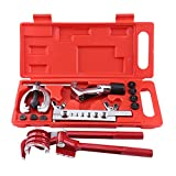 Pipe Flaring Kit, 11pcs Brake Pipe Flaring Kit Tool Fuel Pipe Repair Flaring Tool Kit with Case
