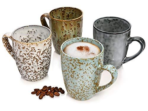 Sänger Kaffeebecher Athen aus Steingut teiligfür 4 Personen - Füllmenge der Tassen 350 ml - Becher Set im Vintage-Stil mehrfarbig, Geschirrset, Porzellanservice