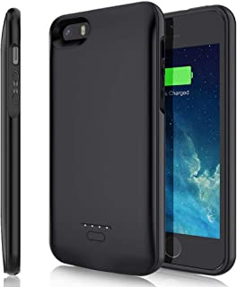TAYUZH Battery Case for iPhone 5/5S/SE, 4000mAh Slim Portable Protective Charging Case Rechargeable Extended Battery Pack Backup Magnetic Charger Case for iPhone 5/5S/SE(4.0 inch) - Black