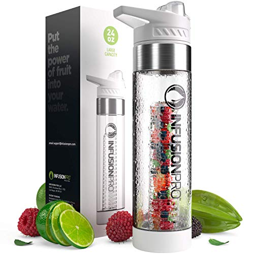 Infusion Pro Premium Fruit Water Bottle Infuser - White Sport 1 Pack - 24 oz BPA Free Durable Tritan Plastic - Free eBook Recipe Guide - Sleek Flip Top Lid with Base Infused Dual Opening