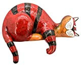 matches21 Katze schlafend Kantenhocker Skulptur bemalt Dekoration Dekokatze Katzenfigur rot Polyresin 1 STK 21,6x14,3 cm