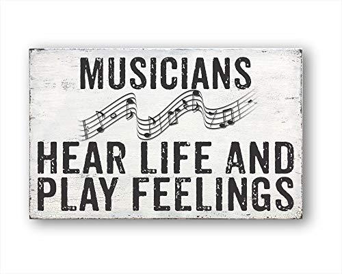 onbekend muur kunst muzikanten horen leven en spelen gevoelens, housewarming geschenk, boerderij decor hout plaque, op maat cadeau
