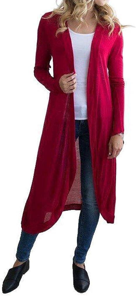 HongHu Women's Long Sleeve Open Front Long Maxi Cardigan Coat Red