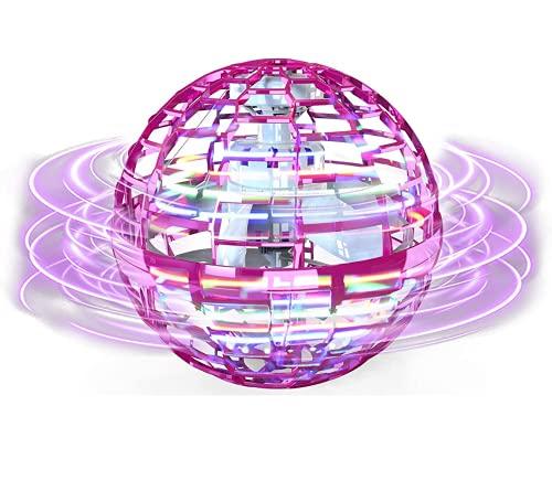 Bola voladora Fidget Juguetes 2021 actualizados Cool Magic Fly Orb Ball Mini Drones Juguete, Spinner volador controlado a mano con globo giratorio de 360° luces LED para niños adultos (globo rosa)
