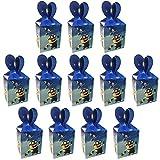 Qemsele Scatole Borse Festa per bambini, 12 Pcs Scatole Caramelle scatole di regalo Borse Sacca Sacchettini del per Tema riutilizzabile Festa di Compleanno Bambini bomboniare Sacchetto Festa (Minions)