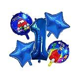 Globo de aluminio 5 piezas/set de globos con número azul Among us Set Space Cartoon Figure Foil Globo de Látex Feliz Cumpleaños Decoración Globo (Color: 7) WDH666 (Color: 1)