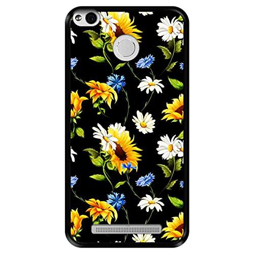 Hapdey Funda Negra para [ Xiaomi Redmi 3 Pro - 3s Prime ] diseño [ Patrón Floral, Flores Multicolores 2 ] Carcasa Silicona Flexible TPU