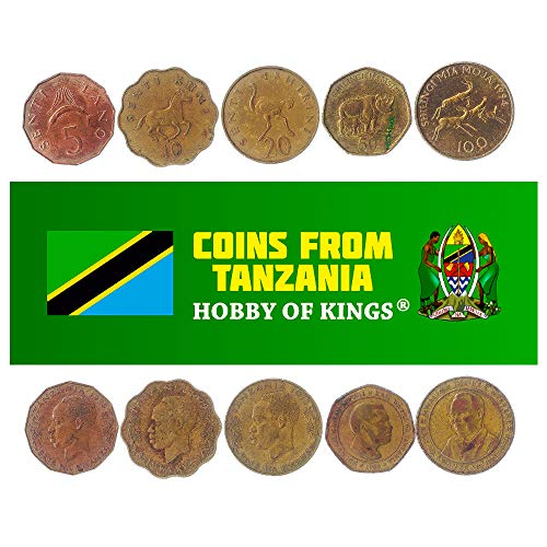 5 monete diverse - Vecchia, tanzaniana da collezione e valuta estera di Zanzibari per collezionismo di libri - Unico set di soldi del mondo - Regali per collezionisti
