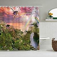 シャワーカーテンスカイブルー滑らかな防水バスカーテンフックに含まれるdBathroom装飾的なアイデアポリエステル生地アクセサリー