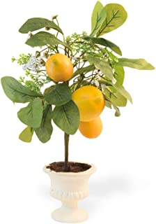 Boston International Decorative Faux Potted Topiary Plant, 18-Inches, Lemon
