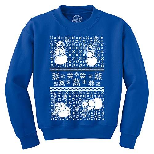 Crazy Dog Tshirts - Drunken Snowmen Ugly Christmas Unisex Crew Neck Sweatshirt (Royal) - 4XL - Homme