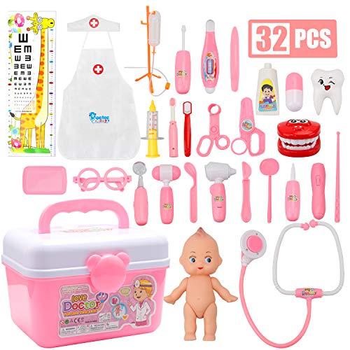 QMORE Arztkoffer 32 Teiliger Medizinische Spielzeug Kit Doktorspiele Rollenspiel mit Zahnpasta Pillen Stethoskop Arztkostüm Doktorset Geschenke für Kinder