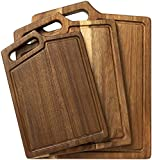 HBlife Extra Thick Acacia Wood Cutting Board for Kitchen with Handles & Juice Groove, 3-Pieces Set...